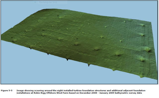 A 3D image of the scour-pits around the bases of the Robin Rigg piles (see COWRIE report for details of the bathymetry)