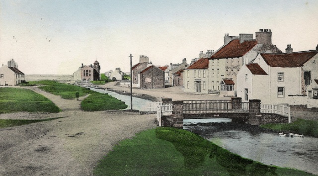 Allonby in the late 1800s (postcard image from 'More Plain People'); Reading Room in the distance