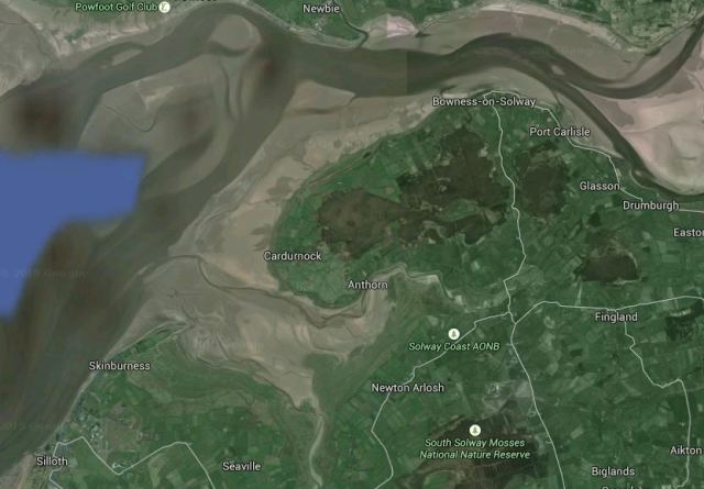 The Upper Solway at low tide (from Google Earth). The channels of the Eden and the Esk are top right. Moricambe Bay lies between Skinburness & Cardurnock