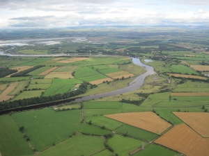 The meandering R Eden, with Rockcliffe marsh beyond. Peatwath was probably near the river mouth (photo: Ann Lingard)