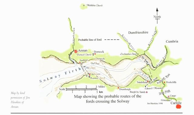 Probable routes of the fords crossing the Solway. (Jim Hawkins, 1998)