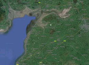The Solway Firth from Rockcliffe to Maryport (satellite image from Google Earth)