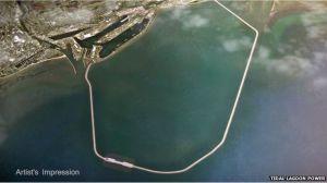 Artist's impression of the Swansea tidal lagoon