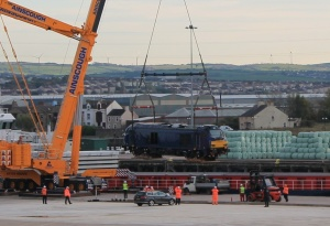 DRS locomotive being unloaded at Port of Workington, October 2105 (thanks to Colin Sharpe for the photo)