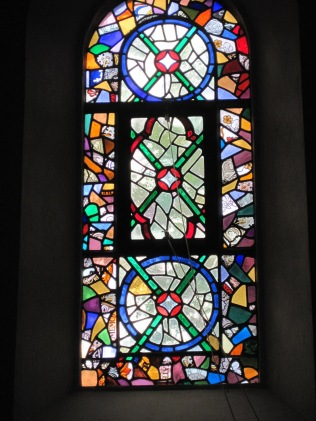 Re-used fragments of stained glass