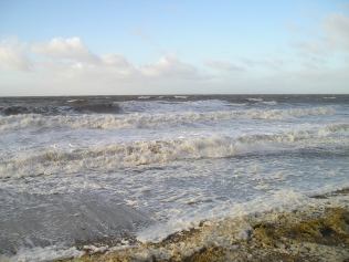 Stormy high tide on Allonby Bay