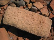 Worked red sandstone