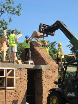 Lifting the blocks into place
