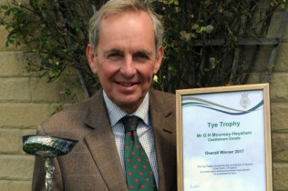 Giles receives the Tye Trophy in 2017 for conservation work