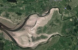 Low tide: the Eden & the Esk wrap aound the marsh (from Google Earth)